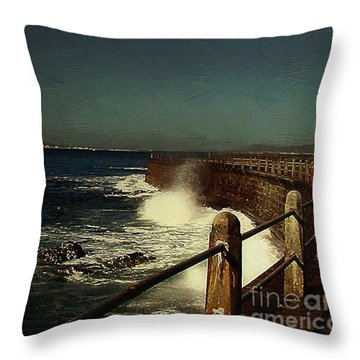 Sea Wall At Night Throw Pillow