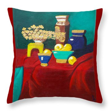 Throw Pillow featuring the painting Seafoam Green On Red Velvet by Margaret Harmon