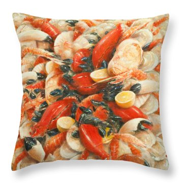 Seafood Extravaganza Throw Pillow by Lincoln Seligman