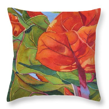 Throw Pillow featuring the painting Seagrape Leaves by Judy Mercer