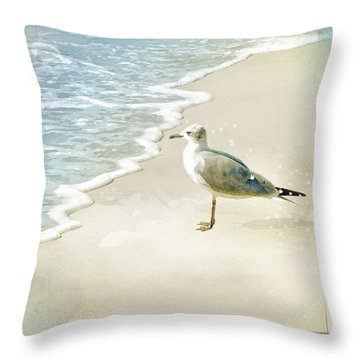 Seagull 2 Plum Island Throw Pillow