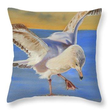 Seagull Ballet Throw Pillow by Phyllis Beiser
