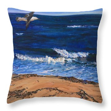 Seagull Flying Along The Surf Throw Pillow