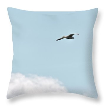 Throw Pillow featuring the photograph Seagull Flying High by Leif Sohlman