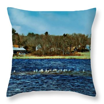 Seagull Gathering Throw Pillow by Barbara S Nickerson