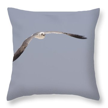 Throw Pillow featuring the photograph Seagull In Flight Against A Blue Sky by Charles Beeler