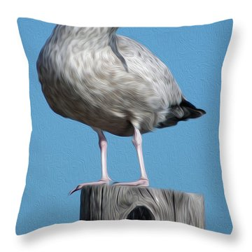 Throw Pillow featuring the digital art Seagull by Kelvin Booker