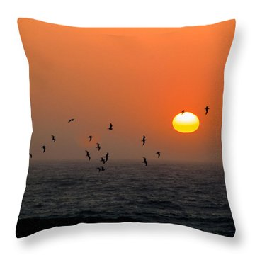 Seagull On Sunset Throw Pillow by William Havle