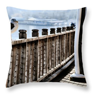 Seagull On The Boardwalk Throw Pillow by Sally Bauer