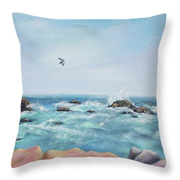 Seagull Over The Ocean Throw Pillow by Asha Carolyn Young