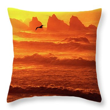 Throw Pillow featuring the photograph Seagull Soaring Over The Surf At Sunset Oregon Coast by Dave Welling