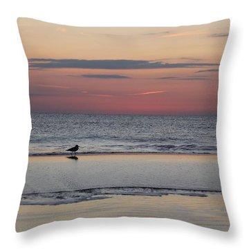 Seagull Strolls The Seashore Throw Pillow by Robert Banach