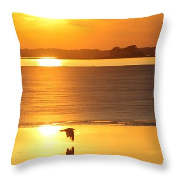 Seagull Through Sunset Throw Pillow