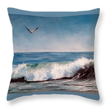 Throw Pillow featuring the painting Seagull With Wave  by Lee Piper