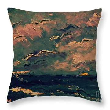 Throw Pillow featuring the painting Seagulls by AmaS Art