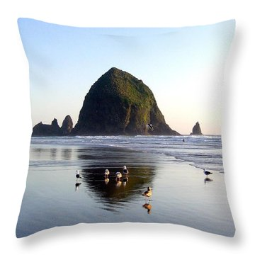 Seagulls And A Surfer Throw Pillow by Will Borden