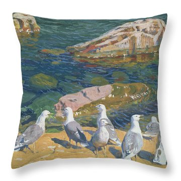 Seagulls Throw Pillow by Arkadij Aleksandrovic Rylov