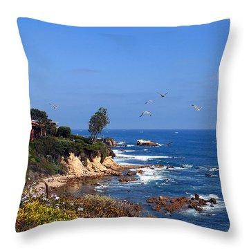 Seagulls At Laguna Beach Throw Pillow