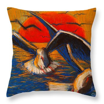 Seagulls At Sunset Throw Pillow by Mona Edulesco