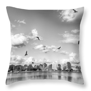 Seagulls Throw Pillow by Howard Salmon