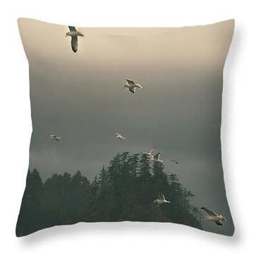 Seagulls In A Storm Throw Pillow