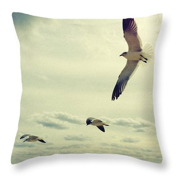 Throw Pillow featuring the photograph Seagulls In Flight by Bradley R Youngberg