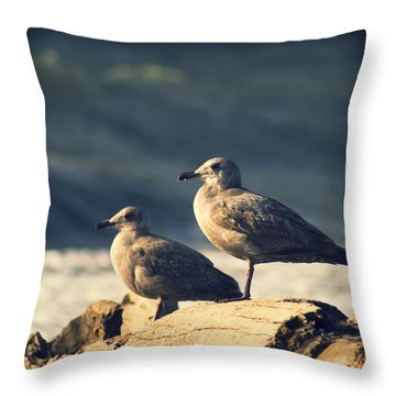 Throw Pillow featuring the photograph Seagulls On A Beach by Yulia Kazansky