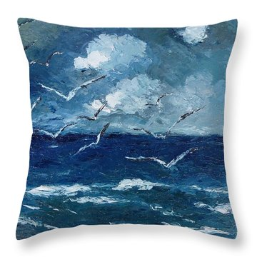 Throw Pillow featuring the painting Seagulls Over Adriatic Sea by AmaS Art