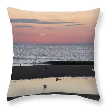 Seagulls Sea And Sunrise Throw Pillow by Robert Banach