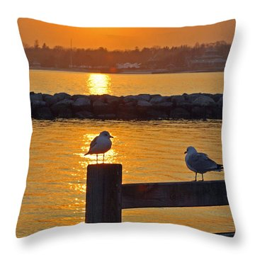 Seaguls At Sunset Throw Pillow