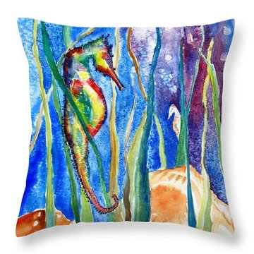 Seahorse And Shells Throw Pillow