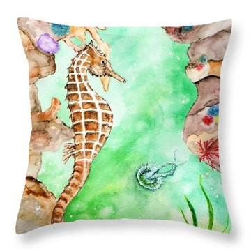 Seahorse Cave Throw Pillow