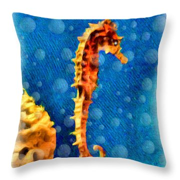Throw Pillow featuring the digital art Seahorse by Daniel Janda