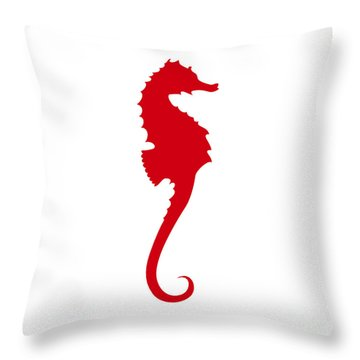 Seahorse In Red Throw Pillow