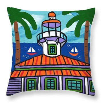 Seahorse Key Lighthouse Throw Pillow