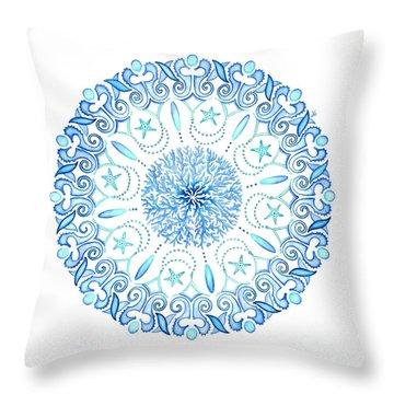 Seahorse Mandala Throw Pillow