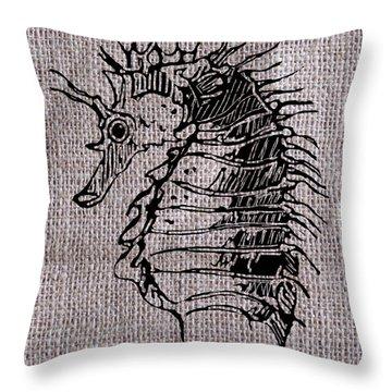 Seahorse On Burlap Throw Pillow