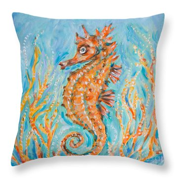 Throw Pillow featuring the painting Seahorse Whimsy by Linda Olsen