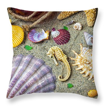 Seahorse With Many Sea Shells Throw Pillow by Garry Gay