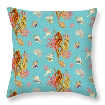 Seahorses Coral And Shells Throw Pillow by Kimberly McSparran