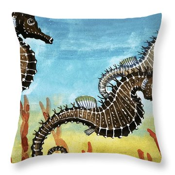 Seahorses Throw Pillow by English School