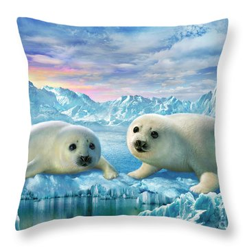 Seal Pups Throw Pillow by Adrian Chesterman