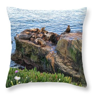 Seals And Pups Throw Pillow by Bedros Awak