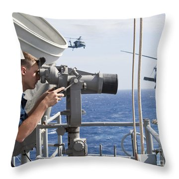 Seaman Apprentice Stands Watch Aboard Throw Pillow by Stocktrek Images