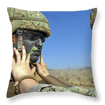 Seaman Has His Face Painted To Help Throw Pillow by Stocktrek Images