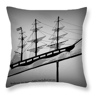 Throw Pillow featuring the photograph Seaman's Bethel Weathervane  by Kathy Barney