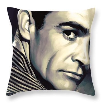 Sean Connery Artwork Throw Pillow by Sheraz A