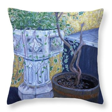 Throw Pillow featuring the painting Sean's Planter by Brenda Brown
