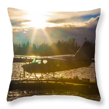 Seaplane Sunset Throw Pillow