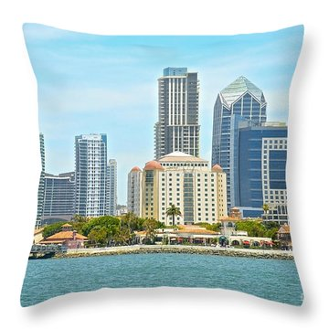 Seaport Village And Downtown San Diego Buildings Throw Pillow by Claudia Ellis